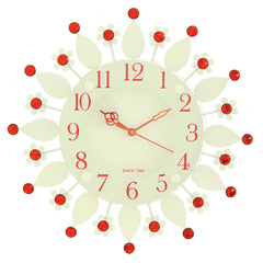 "ICWVC_413_RED-eCraftIndia-Diamond-Series-Flower-Design-Iron-Wall-Clock-(12""-x-12""-Inch-