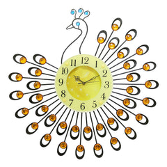 "ICWVC_804_YLW-eCraftIndia-Diamond-Series-Peacock-Design-Iron-Wall-Clock-(23""-x-23""-Inch-