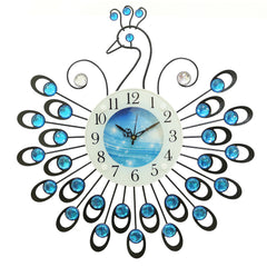 "ICWVC_805_Blue-eCraftIndia-Diamond-Series-Peacock-Design-Iron-Wall-Clock-(19""-x-19""-Inch-