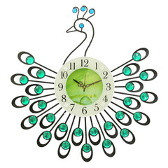 "ICWVC_805_GRN-eCraftIndia-Diamond-Series-Peacock-Design-Iron-Wall-Clock-(19""-x-19""-Inch-