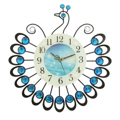 "ICWVC_806_Blue-eCraftIndia-Diamond-Series-Peacock-Design-Iron-Wall-Clock-(15""-x-15""-Inch-