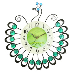 "ICWVC_806_GRN-eCraftIndia-Diamond-Series-Peacock-Design-Iron-Wall-Clock-(15""-x-15""-Inch-