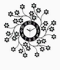 "ICWVQ_105_BLK-eCraftIndia-Diamond-Series-Flower-Design-Iron-Wall-Clock-(24""-x-24""-Inch-
