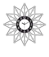 "ICWVQ_107_BLK-eCraftIndia-Diamond-Series-Flower-Design-Iron-Wall-Clock-(24""-x-24""-Inch-