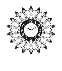 "ICWVQ_201_BLK-eCraftIndia-Diamond-Series-Flower-Design-Iron-Wall-Clock-(20""-x-20""-Inch-