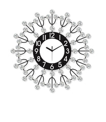 "ICWVQ_202_BLK-eCraftIndia-Diamond-Series-Flower-Design-Iron-Wall-Clock-(20""-x-20""-Inch-
