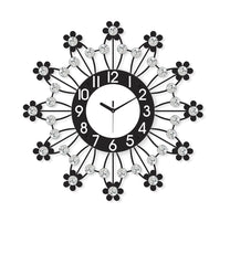 "ICWVQ_203_BLK-eCraftIndia-Diamond-Series-Flower-Design-Iron-Wall-Clock-(20""-x-20""-Inch-