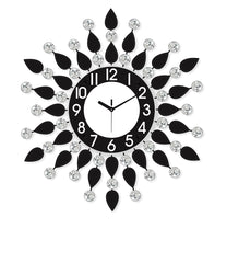 "ICWVQ_205_BLK-eCraftIndia-Diamond-Series-Flower-Design-Iron-Wall-Clock-(20""-x-20""-Inch-