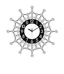 "ICWVQ_206_BLK-eCraftIndia-Diamond-Series-Flower-Design-Iron-Wall-Clock-(20""-x-20""-Inch-