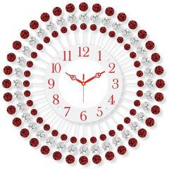 "ICWVQ_210_RD-eCraftIndia-Diamond-Series-Flower-Design-Iron-Wall-Clock-(20""-x-20""-Inch-