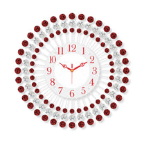 "ICWVQ_310_RD-eCraftIndia-Diamond-Series-Flower-Design-Iron-Wall-Clock-(15""-x-15""-Inch-