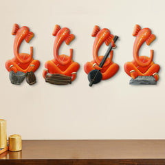 ILGWH507-eCraftIndia-Set-of-4-Musician-Lord-Ganesha-Handcrafted-Iron-Wall-Hangings_1