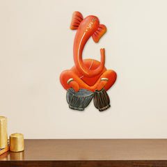ILGWH509-eCraftIndia-Musician-Lord-Ganesha-playing-Dholak-Handcrafted-Iron-Wall-Hanging_1