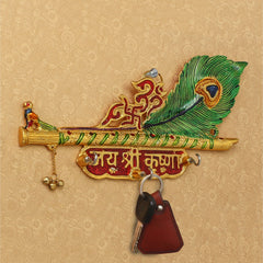 IMPKH501-eCraftIndia-Jai-Shree-Krishna-Key-Holder-With-3-Hooks_1