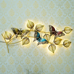 IRBTRFLY500-eCraftIndia-Decorative-Leaves-and-Butterfly-Design-Handcrafted-Iron-Wall-Hanging-with-background-LED's_1