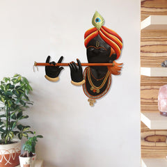 IRKWH503-eCraftIndia-Iron-Lord-Krishna-Playing-Flute/Bansuri-Wall-Hanging_1