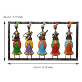 ecraftindia-set-of-5-tribal-women-playing-different-musical-instruments-colorful-decorative-iron-wall-hanging_4