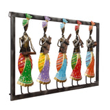 ecraftindia-set-of-5-tribal-women-playing-different-musical-instruments-colorful-decorative-iron-wall-hanging_5