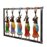 ecraftindia-set-of-5-tribal-women-playing-different-musical-instruments-colorful-decorative-iron-wall-hanging_6