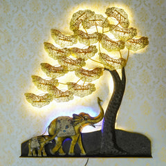 IRTREE501-eCraftIndia-Elephant-Family-Under-Golden-Leaves-Tree-Handcrafted-Iron-Wall-Hanging-with-background-LED's_1