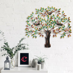 IRTREE503-eCraftIndia-Birds-Sitting-on-Colorful-Leaves-Tree-Handcrafted-Iron-Wall-Hanging_1