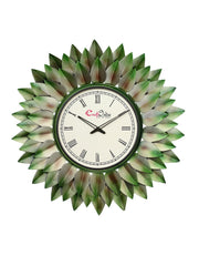 IWCACF_2417_R-eCraftIndia-Green,-Brown-and-Black-Decorative-Iron-Handcarved-Premium-Wall-Clock_1