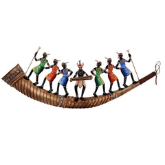 eCraftIndia Wrought Iron Dancing Tribals on Shehnai Wall Hanging