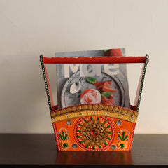eCraftIndia Papier-Mache Wooden Multiutility Basket