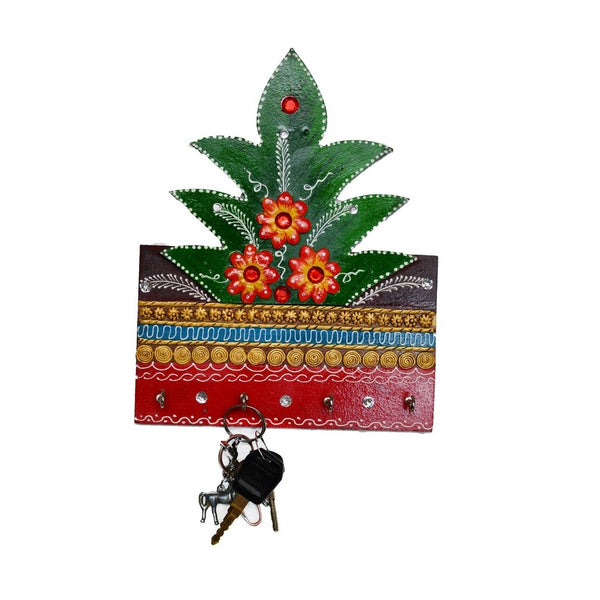 eCraftIndia Papier-Mache Tree Design 4 Hooks Key holder