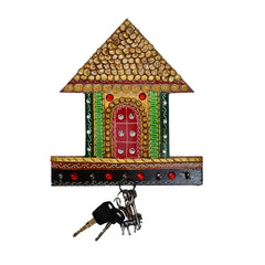 ecraftindia-papier-mache-traditional-village-hut-5-hooks-key-holder_1