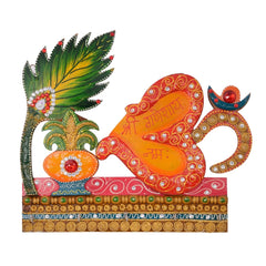 eCraftIndia Papier-Mache Om and Krishna Design Key Holder