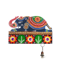 eCraftIndia Decorative Elephant Papier-Mache Wooden Keyholder