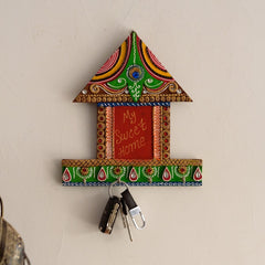 eCraftIndia My Sweet home Hut Shape Papier-Mache Wooden Keyholder