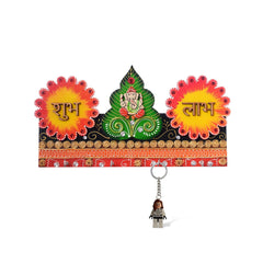 eCraftIndia Lord Ganesha & Shubh Labh Papier-Mache Wooden Keyholder