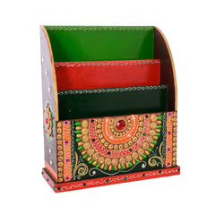 ecraftindia-papier-mache-embossed-3-racks-floor-standing-magzine-holder_1