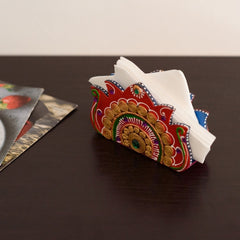 eCraftIndia Decorative Papier-Mache Wooden Napkin Holder