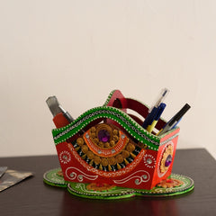 eCraftIndia Decorative Papier-Mache Wooden Pen Stand
