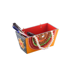 ecraftindia-papier-mache-wooden-decorative-premium-pen-stand-utility-box_1