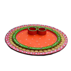 eCraftIndia Papier-Mache Radiant Pink and Orange Pooja Thali