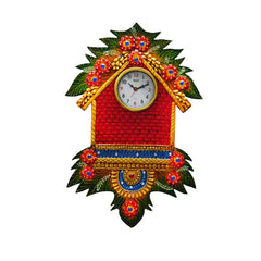 eCraftIndia Papier-Mache Handcrafted Wall Clock Hut Design