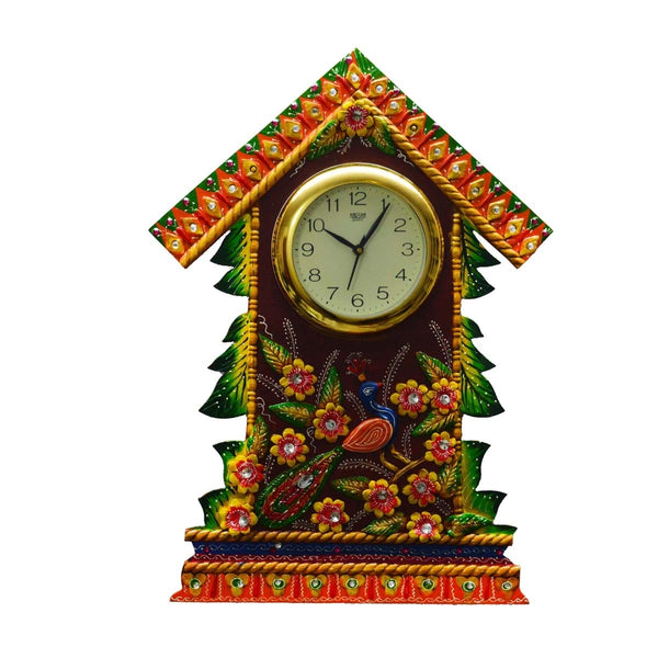 ecraftindia-papier-mache-wall-clock-floral-hut-design_1