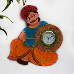 eCraftIndia Papier-Mache Rajasthani Turban Man Handcrafted Wall Clock