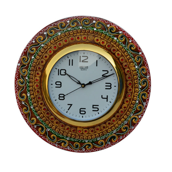 ecraftindia-papier-mache-kundan-studded-handcrafted-wall-clock_1