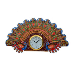 ecraftindia-papier-mache-peacock-design-handcrafted-wall-clock_1