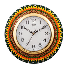 eCraftIndia Subtle Vibrant Papier-Mache Wooden Handcrafted Wall Clock