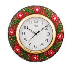 eCraftIndia Jazzy Red Floral Papier-Mache Wooden Handcrafted Wall Clock