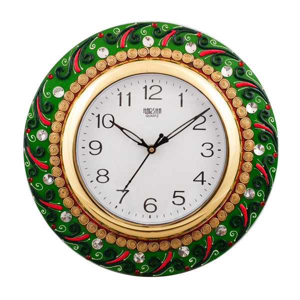 ecraftindia-splendid-green-color-embossed-papier-mache-wooden-handcrafted-wall-clock_1