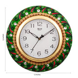 ecraftindia-splendid-green-color-embossed-papier-mache-wooden-handcrafted-wall-clock_3