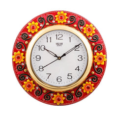 eCraftIndia Fine Crafted Florid Papier-Mache Wooden Handcrafted Wall Clock