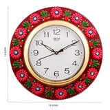 eCraftIndia Vibrant Red Floral Crafted Papier-Mache Wooden Handcrafted Wall Clock